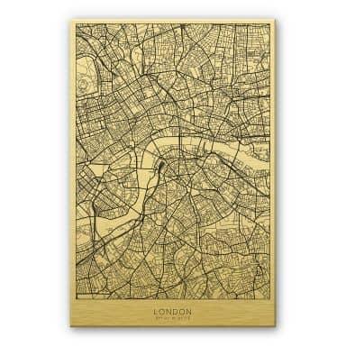 Alu-Dibond mit Goldeffekt Stadtplan London