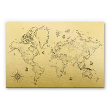 Alu-Dibond-Goldeffekt - Weltkarte - Aus vergangenen Zeiten