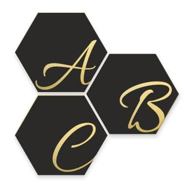 Hexagone Lettres Décoratives - Alu-Dibond effet doré - noir