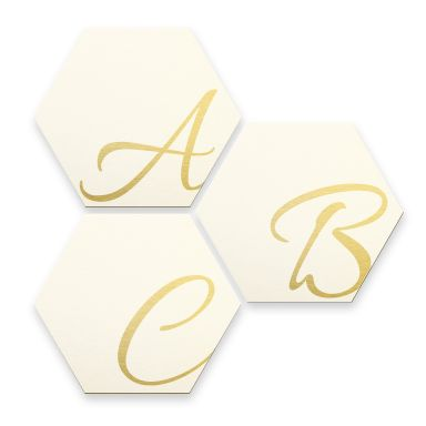 Hexagon Letters - Alu-dibond gold effect white