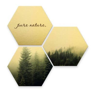 Hexagon alu-dibond goud effect - Pure Nature