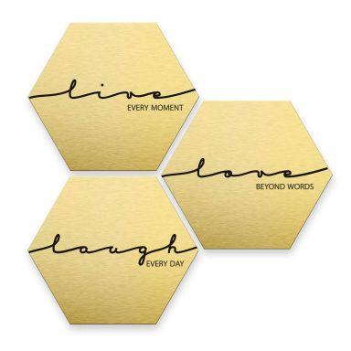 Hexagon alu-dibond gold effect - Live Laugh Love