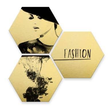 Hexagon - Alu-Dibond-Goldeffekt - Fashion Mode (3er Set)