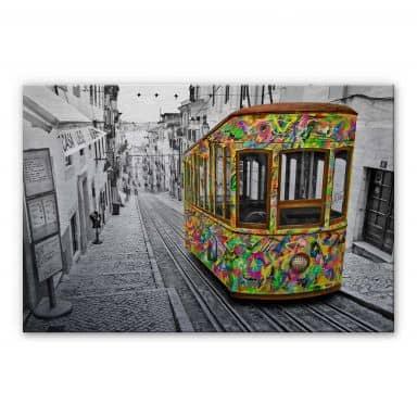 Alu-Dibond mit Silbereffekt Ben Heine - Tram in Lissabon