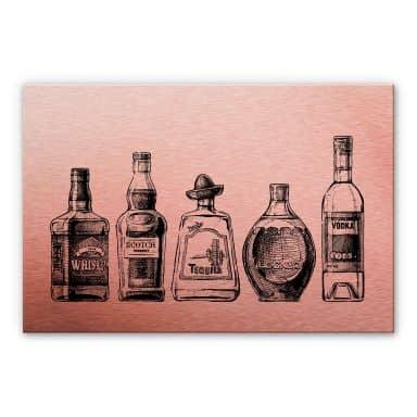 Alu-Dibond-Kupfereffekt - 5 Flaschen voll Spaß