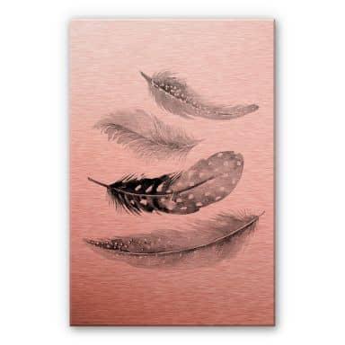 Aluminium Print Copper - Feathers 02