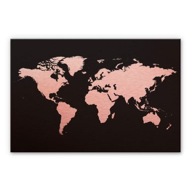 Aluminium Dibond Kopereffect - Wereldkaart 02