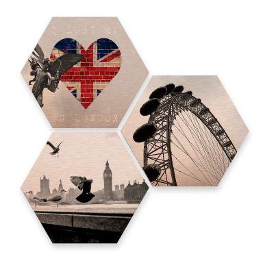 Hexagon - Alu-Dibond-Kupfereffekt - Impression of London (3er Set)