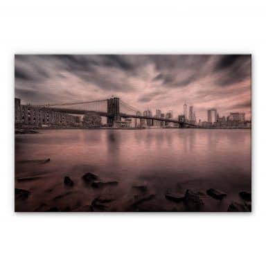 Alu-Dibond mit Kupfereffekt  Javier - Brooklyn Bridge