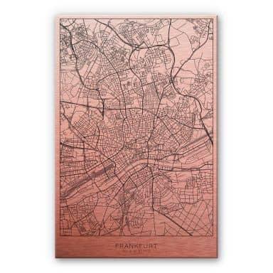 Alu-Dibond mit Kupfereffekt Stadtplan Frankfurt