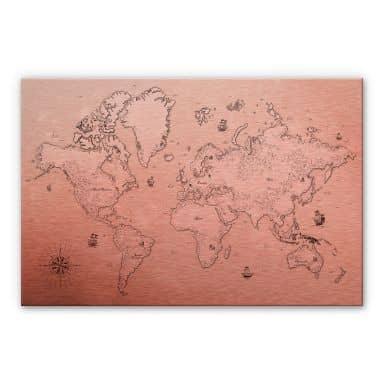 Alu-Dibond mit Kupfereffekt Weltkarte - Aus vergangenen Zeiten