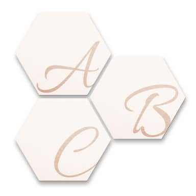 Hexagon Letters - Alu-dibond copper effect white