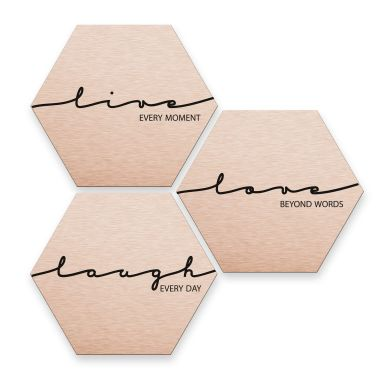 Hexagon alu-dibond koper effect - Live Laugh Love
