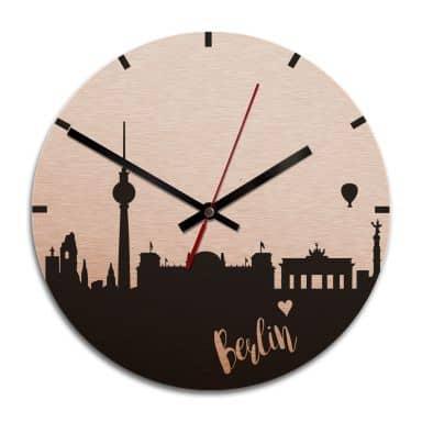 Wanduhr Alu-Dibond-Kupfereffekt - Skyline Berlin -  Ø 28 cm