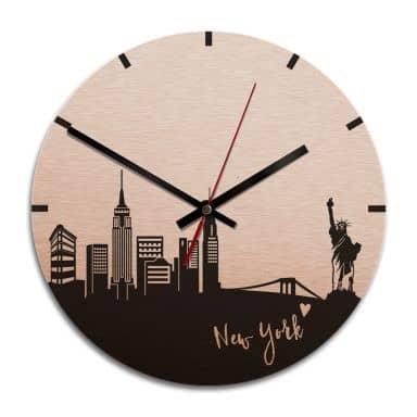 Wanduhr Alu-Dibond-Kupfereffekt - Skyline New York  - Ø 28 cm