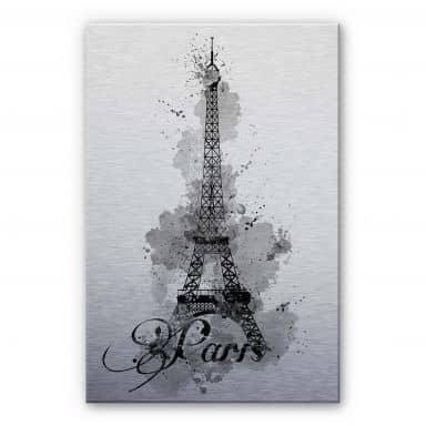 Alu-Dibond Bild La Tour Eiffel Aquarelle - schwarz/weiß