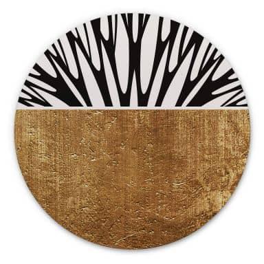 Alu-Dibond Kubistika - Baum des Lebens - Gold - Rund