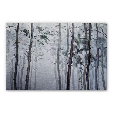 Alu-Dibond mit Silbereffekt Aquarell Wald