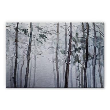 Alu-Dibond silver effect - Watercolour Forest