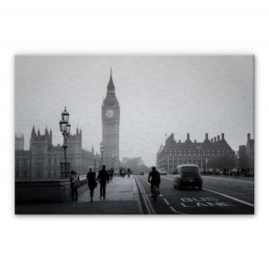 Alu-Dibond mit Silbereffekt Big Ben in London