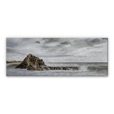 Alu-Dibond Bild Fels in der Brandung - Panorama