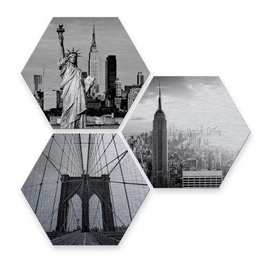 Hexagon alu-dibond zilver effect - New York