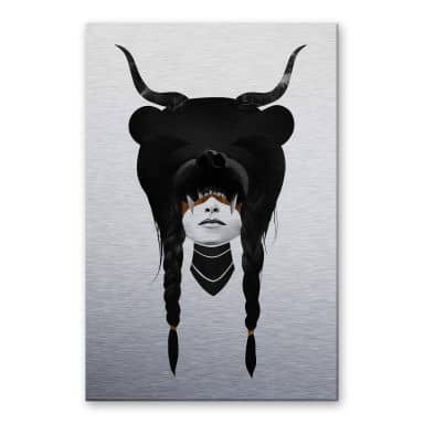 Alu-Dibond mit Silbereffekt Ireland - Bear Warrior - Bärenkriegerin