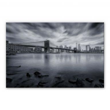Alu-Dibond mit Silbereffekt Javier - Brooklyn Bridge