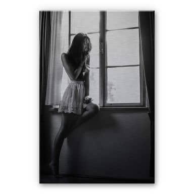 Alu-Dibond Silver - Krystynek - Girl in the Window