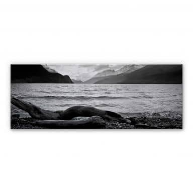 Alu-Dibond Bild Log and Lake - Panorama