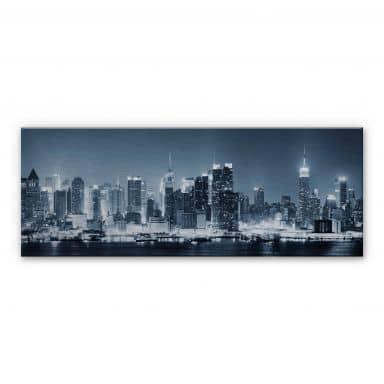 New York at Night 1 - Panorama Aluminium print