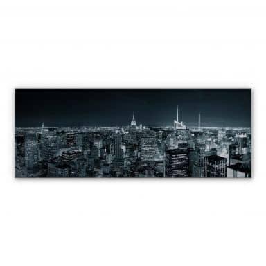New York at Night 2 - Panorama Aluminium print