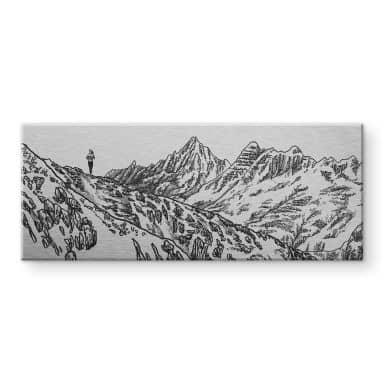 Tableau en alu-Dibond effet argenté Sparshott - La course en montagne - Panorama