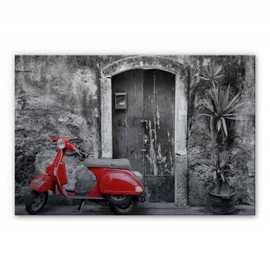 Alu-Dibond Bild Red Scooter schwarz-weiß
