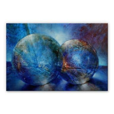 Alu-Dibond mit Silbereffekt Schmucker - Zwei blaue Murmeln