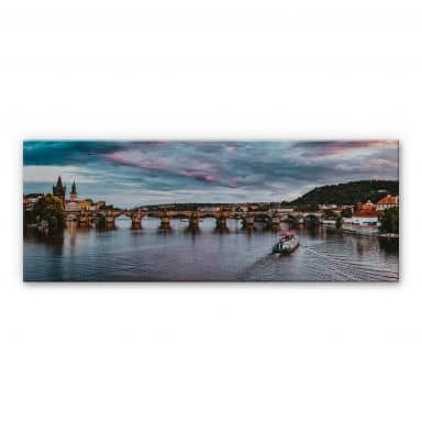 Alu-Dibond mit Silbereffekt Sonnenuntergang in Prag