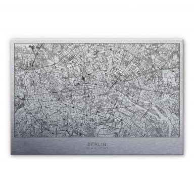 Alu-Dibond mit Silbereffekt Stadtplan Berlin
