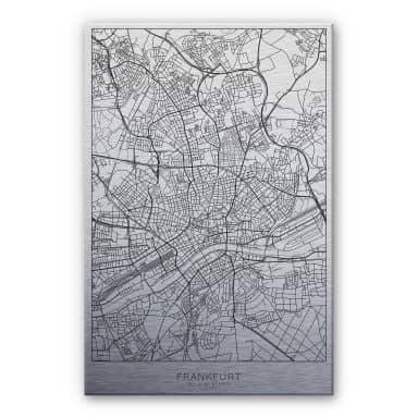 Alu-Dibond mit Silbereffekt Stadtplan Frankfurt