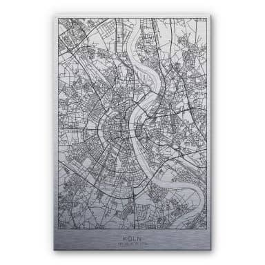 Alu-Dibond mit Silbereffekt Stadtplan Köln