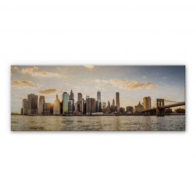 Alu-dibond silver effect Manhattan Sunset