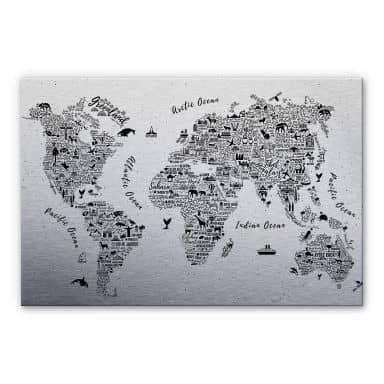 Alu-Dibond mit Silbereffekt Weltkarte - Around the world