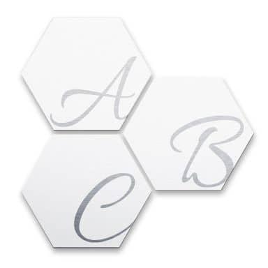 Hexagon Letters - Alu-dibond zilvereffect wit