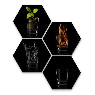 Esagoni in Alu-dibond – Vargas I quattro elementi