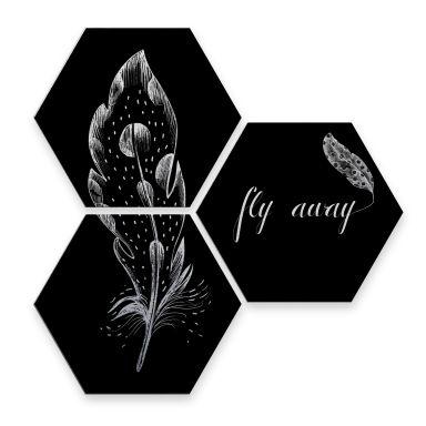 Hexagon alu-dibond zilver - Kvilis - Fly Away