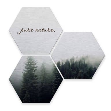 Hexagon alu-dibond zilver effect - Pure Nature