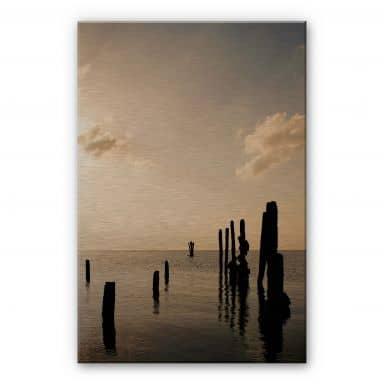 Alu-Dibond Bild Posts at Sunset