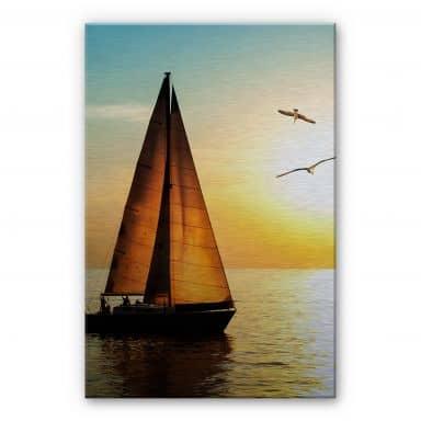 Alu-Dibond Bild Segelboot im Sonnenuntergang