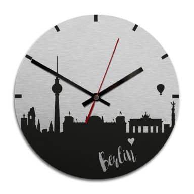 Wanduhr Alu-Dibond-Silbereffekt - Skyline Berlin -  Ø 28 cm