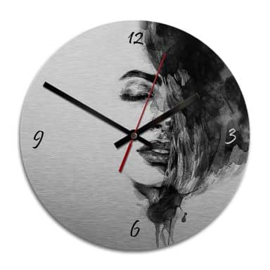 Wanduhr Alu-Dibond-Silbereffekt - Sleeping Beauty - Ø 28 cm