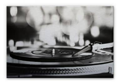 Vinyl Record on Turntable Aluminium print